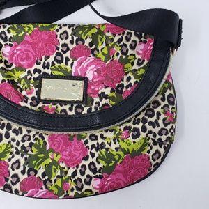 Betsy Johnson crossbody purse leopard roses